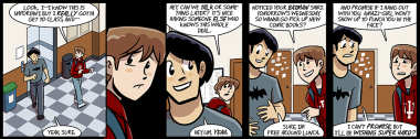 the backgrounds in today's strip are penance for yesterday's blue featureless void