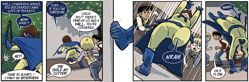 dumbing of age is a crazy universe where amber can do that but walky can't