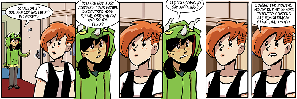 this strip was going to be an actual conversation, but then becky's first exposure to that dino hoodie took control and veered us away