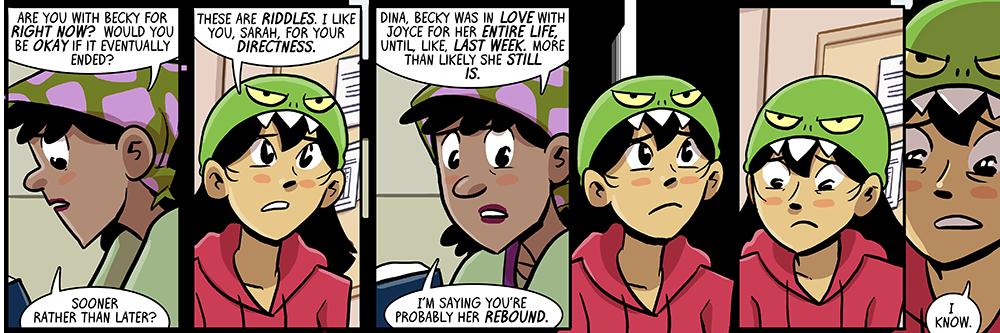 it's not a comic from me if dina doesn't get a date on the rebound from joyce, is it