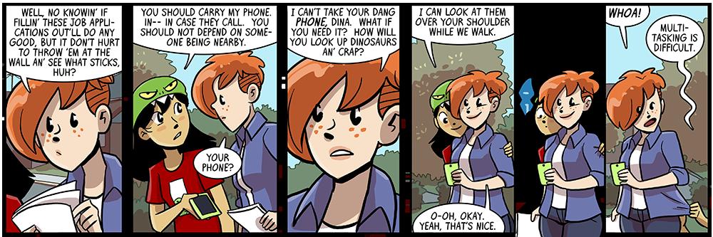 walking + shoulder-chinning + dinosaur enjoying = disaster