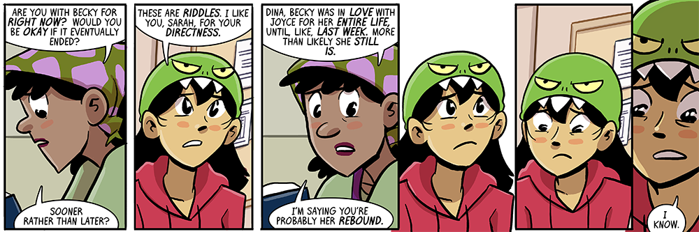 it's not a comic from me if dina doesn't get a date on the rebound from joyce, is it