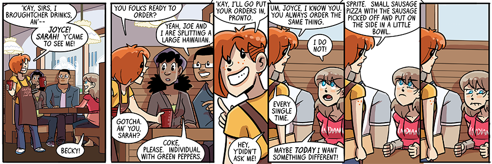 becky's manner of speaking sure helps me with unique strip titles