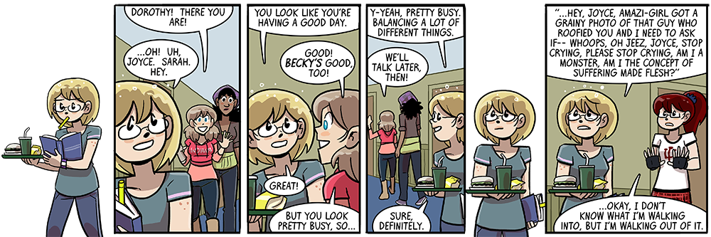 maybe this would be funnier if it were animated, and carla slowly rolls away backwards on her out-of-panel skates