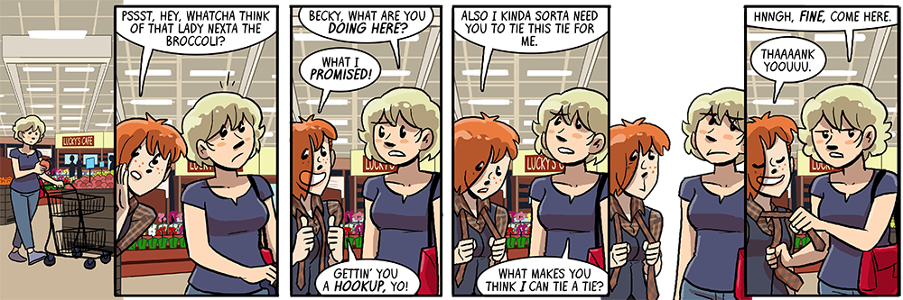 sure let's put becky in two kinds of plaid and also in a goddamn grocery store, somebody hates the artist